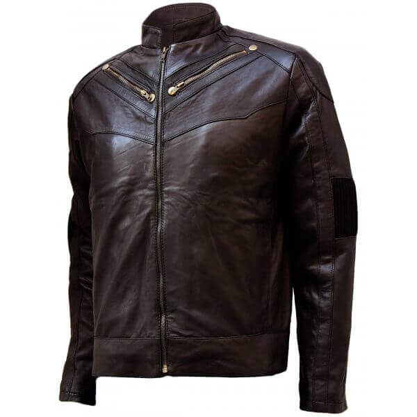 Rib-Knitted Detailing Men's Brown Leather Jacket